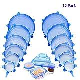 Coperchi in Silicone Stretch, 12 Pack di Diverse Dimensioni Coperchio in Silicone per Alimenti, Riutilizzabile ed Espandibile Coperchio per Tazza per Pentole e Freezer - BPA Free