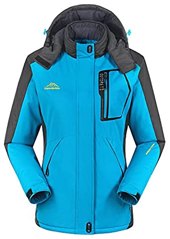iLoveSIA Women's Mountain Jacket Waterproof Fleece Lined Overcoat Sky Blue Size 10