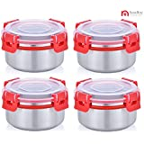 NanoNine Uni-Qlip Stainless Steel Lunch Box Set With Detachable Clips, 250 Ml, Set Of 4, Red