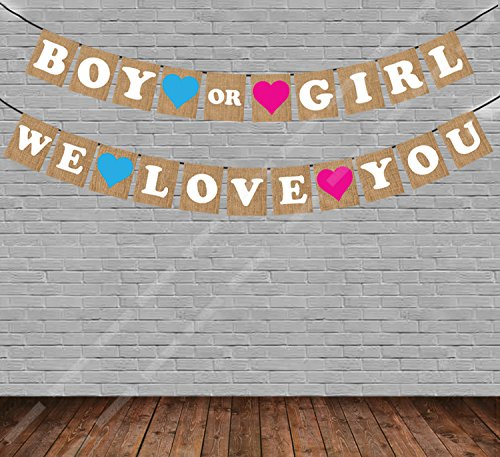 party propz boy or girl we love you baby shower string banner multicolour