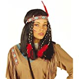 Cheyenne karnevalstore24–Peluca Pocahontas Negro indianerinperücke con pelo banda de pelo largo peluca Disfraz Accesorio
