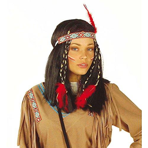 Zubehör Morticia Kostüm - NET TOYS Cheyenne Indianerin Perücke Pocahontas schwarz Indianerinperücke mit Haarband Langhaarperücke Kostüm Zubehör