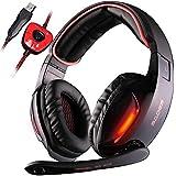 SADES SA 902 7.1 de sonido envolvente estéreo Pro USB PC Gaming Auriculares Cinta de cabeza de los auriculares con micrófono Deep Bass Over-the-Ear Control de volumen de las luces LED para jugadores de PC (Negro)