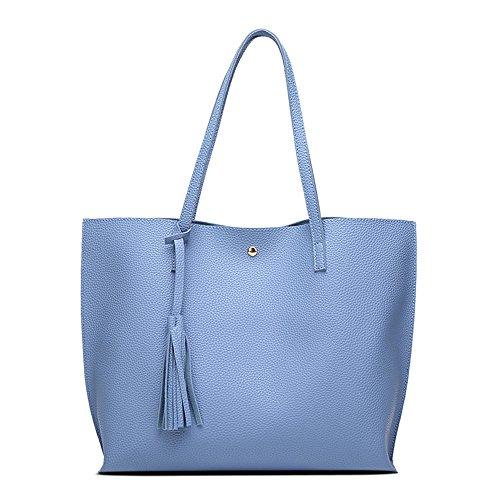 a33c2e9a64 Borsa a Mano Spalla Donna Elegante Pelle Nera Blu Rosa Ragazza Grande  Borsetta Borsa Tote Shopping