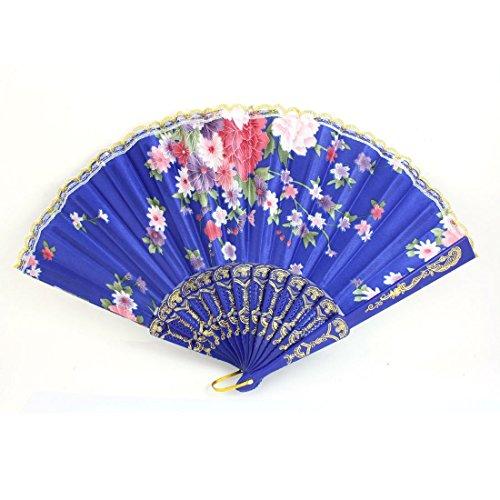 Kunststoff-Rahmen Blumenmuster Polyester Hand Folding Fan Blau
