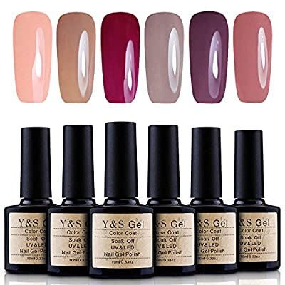 Y&S 10ML UV LED Gel Nail Polish Sets 6 Colours Soak Off Gel Polish Manicure Varnish Nail Salon Art Kit