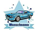 plot4u Blaues Auto Wandtattoo Türschild mit Name Personalisierbar Kinderzimmer Türaufkleber Baby Wandaufkleber in 9 Größen (90x78cm Mehrfarbig)