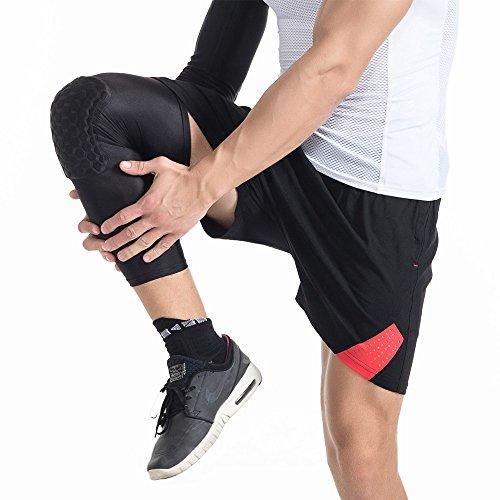 dgyao Schutz Kompression Knie Pads Crashproof Fußball Basketball Bein Sleeve Sport Knieschoner Kneepad Displayschutzfolie Kniebandage Small schwarz - 3