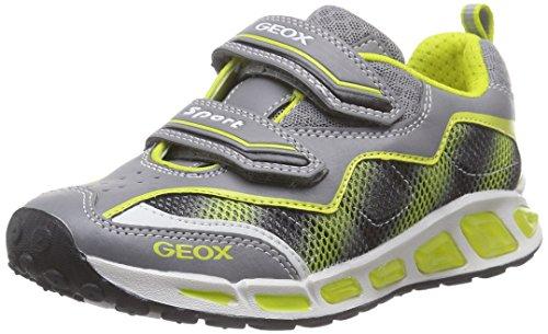 Geox J Shuttle Boy A, Scarpe da Ginnastica Basse Bambino Grigio (Grey/Lime)