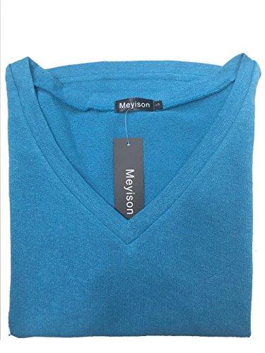 Meyison Damen V Ausschnitt Casual Shirts Knit Pullover Tops Blau