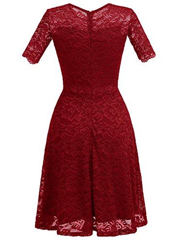 Dressystar Damen Vintage Kleid Abendkleid Spitzen mit Ärmeln Casual Herbstkleider Einfarbig Knielang Weinrot