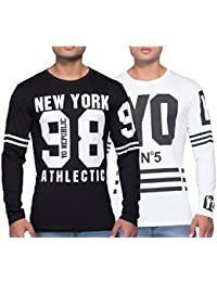 Yo Republic Mens Cotton Tshirt Combo Offer(Pack of 2)(AT-0372-1 XL_Black_White_X-Large)