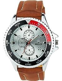 BELLOS - Herren ArmbanduhrSilber Quarz Stahl Analog Display Typ stilvoll Sport Modus Armband braunKunstleder