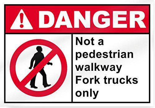 No un paso peatonal tenedor camiones única señal peligro 14cm de ancho x 10cm de alto