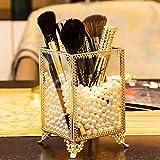 Dawoo Fabbricato di Vetro e Brass Vintage Organizzatore di Pennello a Mano Realizzato Cosmetico Spazzino con Perle Bianche per Dresser Vanity Control