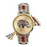 JSDDE Cadeau Mère 1PC Femmes Motif éléphant Corde Tissé Band Bracelet Quartz Composer Montre Orange Cadeaux Fête des Mères