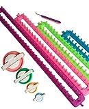 Tmade Set von 4 Lange Strickrahmen Set Strick-Strickjacke Set Handwerk Kit Sock Schal Hat Maker mit Geschenk Pom Pom Maker(L * W: 24 * 5 cm, 34,5 * 5 cm, 45 * 5 cm, 55 * 5 cm)