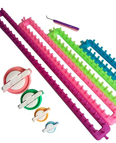 Tmade Set von 4 Lange Strickrahmen Set Strick-Strickjacke Set Handwerk Kit Sock Schal Hat Maker mit Geschenk Pom Pom Maker(L * W: 24 * 5 cm, 34,5 * 5 cm, 45 * 5 cm, 55 * 5 cm) (Schal-geschenk-set)