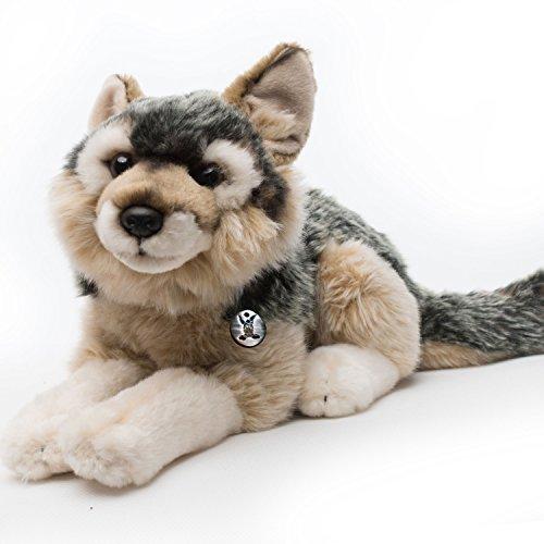 Wolf VAGABUND Welpe Wolfshund 36 cm liegend Plüschtier von Kuscheltiere.biz
