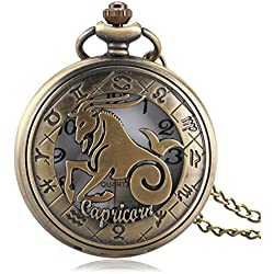 yisuya Retro Sternzeichen Steinbock Taschenuhr Hohl Bronze Quarz Anhänger Schlüsselanhänger Uhren Geburtstag Weihnachten Geschenk