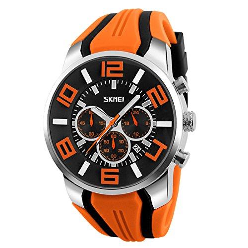 Skmei Herren Großes Gesicht Uhren YAHE Sports Wasserdicht Beiläufig Datum Kalender Analog Quarz Armbanduhr mit Gummiband (orange) (Herren-uhren Mit Gesicht Orange)