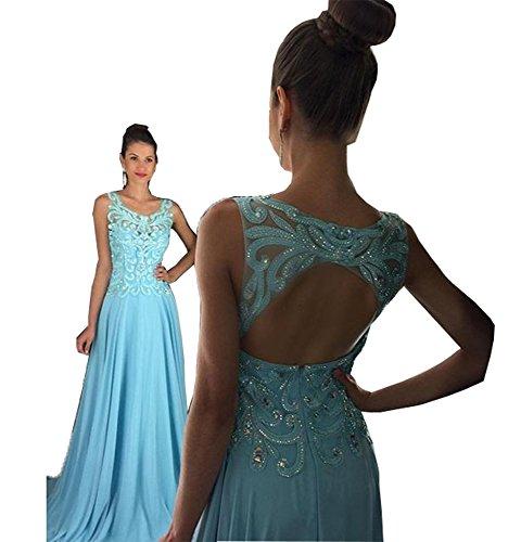 Fanciest Damen Crystal Beaded Lang Abendkleider Ballkleid 2016 Evening Gowns Formelle Blue