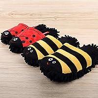 MXSWZ Cute Bee slippers Girls Plus size 42-44 Winter slipper Lovely Dog Beetle Indoor Warm Mop shoes Wear-resistant Non slip