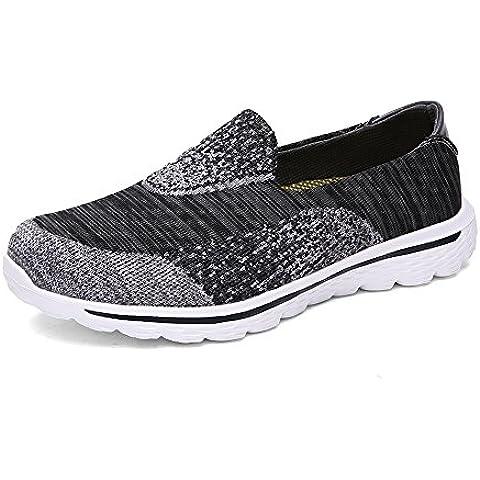 T.B Unisex adulto Zapatillas de caminar de los hombres y las mujeres de Go Walk Mujer Zapatillas Slip On Zapatillas de deporte ocio zapatos al aire libre corriendo entrenador, Gery,