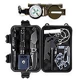 Außen Notfall Survival Kit, 11 in 1 Selbsthilfe Werkzeuge Box Set für Reisen Camping Jagd Zubehör mit Feuerstarter, Kompass, Whistle, Tactical Pen, Survival Armbändern