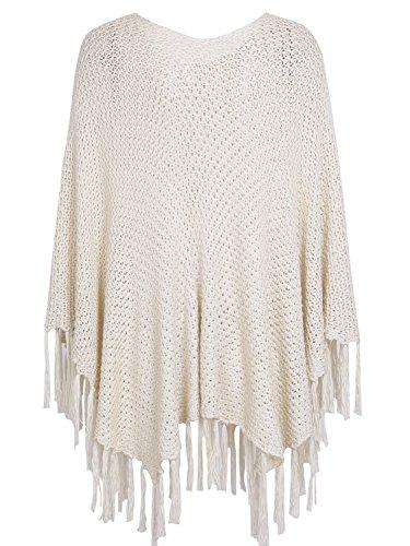 simplee abbigliamento delle donne è tassel poncho scialli mantello a maglia apricot