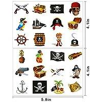Tatuajes Pirata Temporales para Niños, 2 Packs de 12 Tatuajes de Estilo Pirata, Tatuaje Temporal Pegatinas Para Chicos Aventuras Piñata Juego Infantiles Fiesta de Cumpleaños Regalo Sorpresa