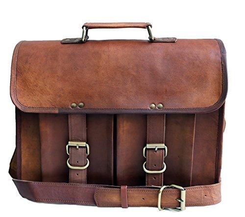 38,1cm in vera pelle anticata tracolla messenger bag per uomo donna in pelle da uomo di borsa satchel