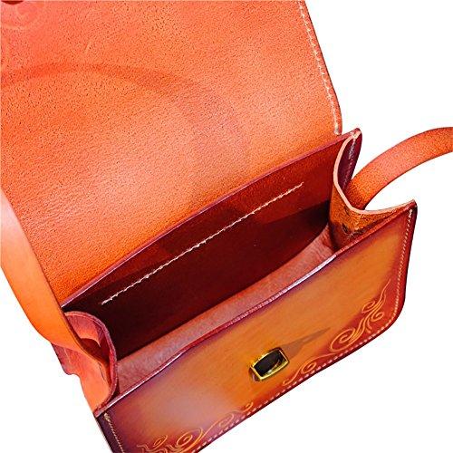 Mena UK Borsa grande tote e borsa a tracolla - pelle in abbronzatura vegetale - borsa in pelle scolpita originale ( Colore : Marrone chiaro , dimensioni : L=19CM(H=15.5CM) ) Cammello
