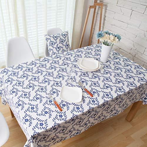 YuYaX-TABLECLOTH Tischdecke Baumwollleinen, Rechteckige Tischdecke, Deco Anti-Flecken. Geeignet Für Esstische, Computertische, Couchtische, 140x180cm -
