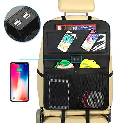 Autositz-Rücken-Organizer Multi-Pocket-Speicher Snacks Dosen Mehrzweck-Kinderwagen-Organizer Auto-Rückenprotektor 4 USB-Ladeanschlüsse,2Pack