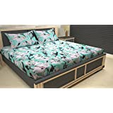 AMMAYA Cotton Floral Printed Double Bedsheet With 2 Pillow Covers(White)