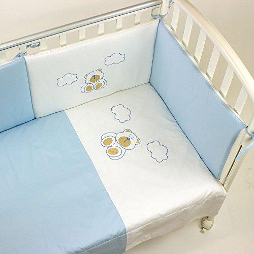 Babysanity set lettino 4 pezzi piumino copripiumino paracolpi e federa in coordinato ricamati azzurro