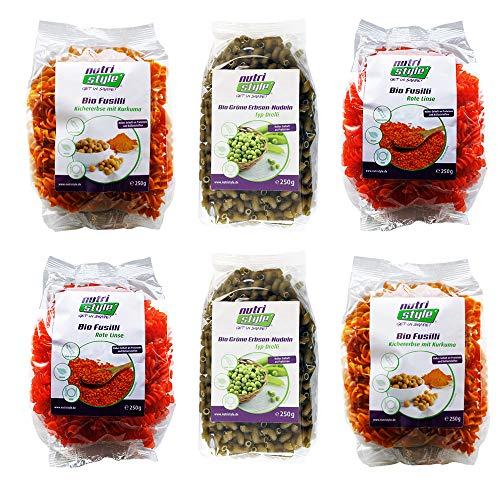 nutristyle Bio Nudeln Probierpaket (6 x 250g) - 2x Rote Linsen, 2x Kichererbse-Kurkuma und 2x Grüne Erbse mit mind. 20{ad3e0c93a1a3fd1e89b3550178734677c72baa549dfc69e0d462b4f38b9b4756} Proteinanteil, Glutenfrei und Vegan