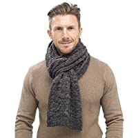 Tom Franks Mens Chunky Cable Knit Scarf Grey