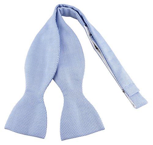 TigerTie Selbstbinder Piqué in hellblau-weiss gemustert, Querbinder 100% Baumwolle + Aufbewahrungsbox