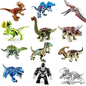 Dinosaur Building Blocks 12pcs Movable Head Mouth And Hands Dinosaur Play Figure Animals & Dinosaurs Toys & Hobbies