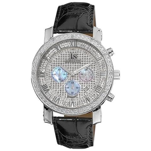 Josué et Sons - Homme - Dazzling - Diamant - Cadran Argent - Noir - Bracelet Cuir
