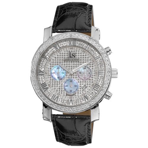 Joshua and Sons Men's Quartz Watch with Silver Dial Chronograph Display and Black Leather Strap JS-28-01
