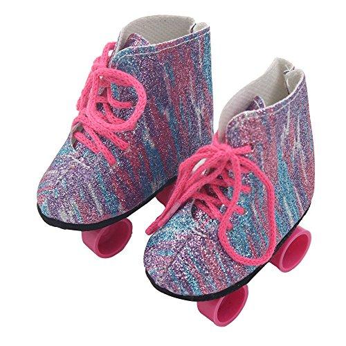 Schuhe Für 18 Zoll American Doll sunnymi Babypuppen Zubehör,Mit Skates Quaste Spitze Hausschuhe Pailletten Stilen (Ohne Puppen) (Skates 8*8*4cm, Multicolor)