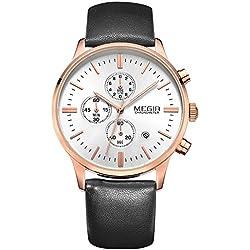 Megir Men Vintage Luminous Leather Strap Quartz Wrist Watches