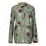 Sonnena Damen Sommer Langarm V-Ausschnitt Taste T-Shirt Pullover Frauen Große Größe Chiffon Hemd Bluse Mode Blumen Drucken Lose Fit Oberteile Tops (4XL, sexy Grün)