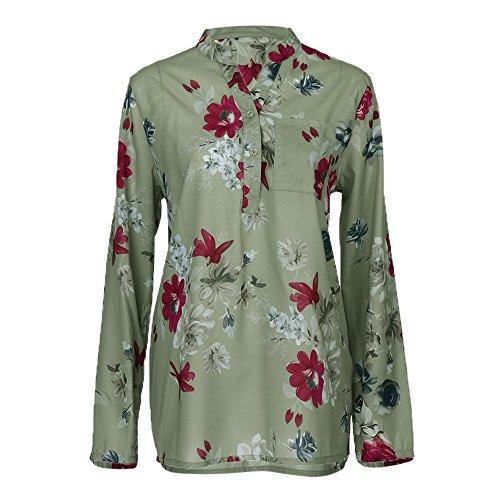 (Blusen Bluelucon Damen Hemd Pullover Langarm Shirts Tunika Frauen Plus Größe V-Ausschnitt Taste Langarm Blumendruck Bluse Tops Shirt S~5XL)