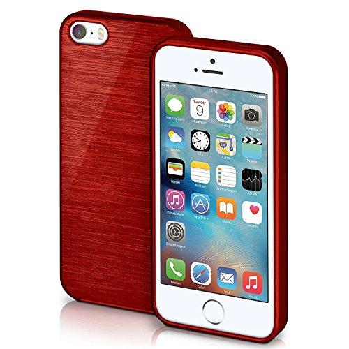 iPhone 5S Hülle Silikon Pink [OneFlow Brushed Back-Cover] TPU Schutzhülle Ultra-Slim Handyhülle für iPhone 5/5S/SE Case Dünn Silikonhülle Rückseite Tasche CRIMSON-RED