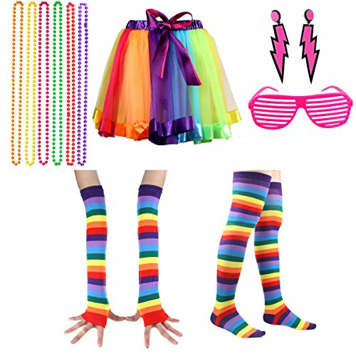 Women's Colourful 80s Rainbow Tutu Skirt and Accessories Set. Many Colours Available.