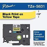 BROTHER TZES631 Spezialband 12mm 8m gelb schwarz extra-stark-klebend fuer Beschriftungsgeraet